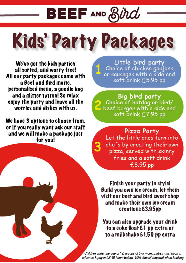 beef and bird kids party packages